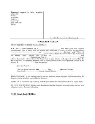 Picture of Alabama Warranty Deed for Joint Ownership