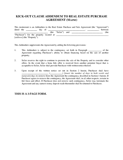 Picture of Maine Kick-Out Clause Addendum to Real Estate Purchase Agreement