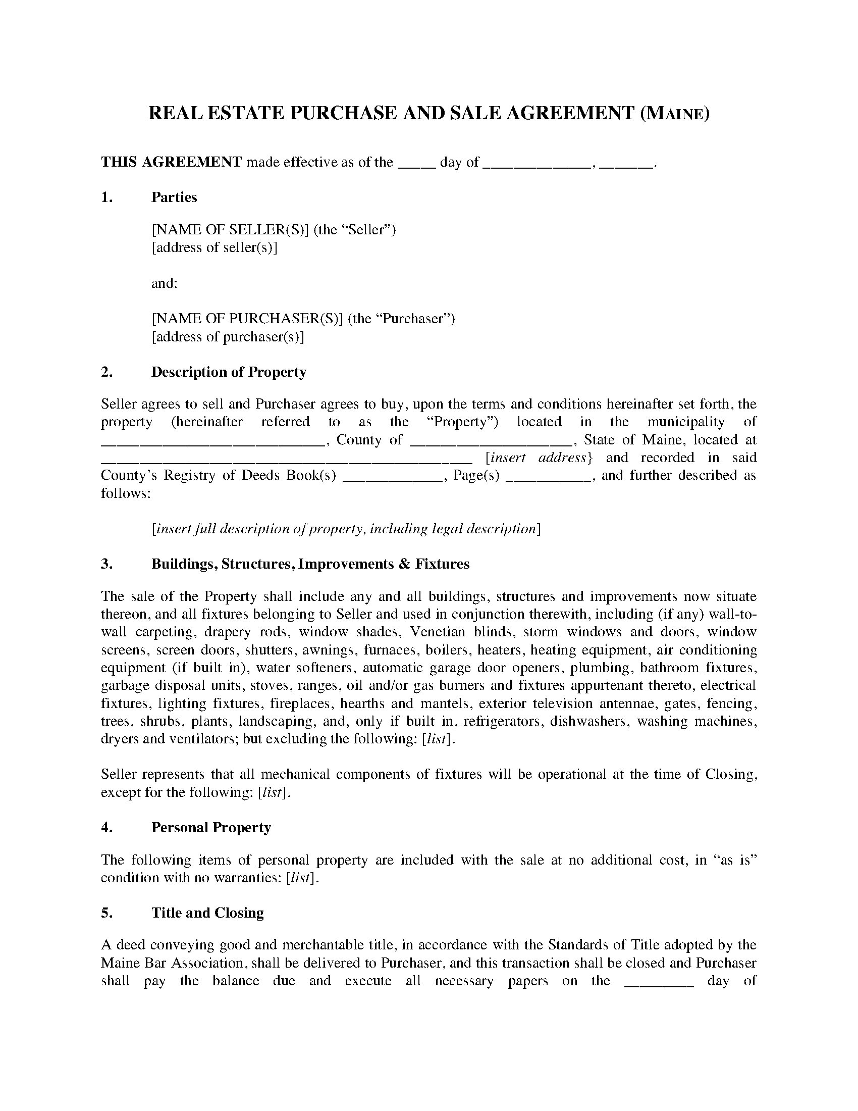 Maine Real Estate Purchase And Sale Agreement Legal Forms And
