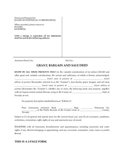Picture of Nevada Grant, Bargain and Sale Deed