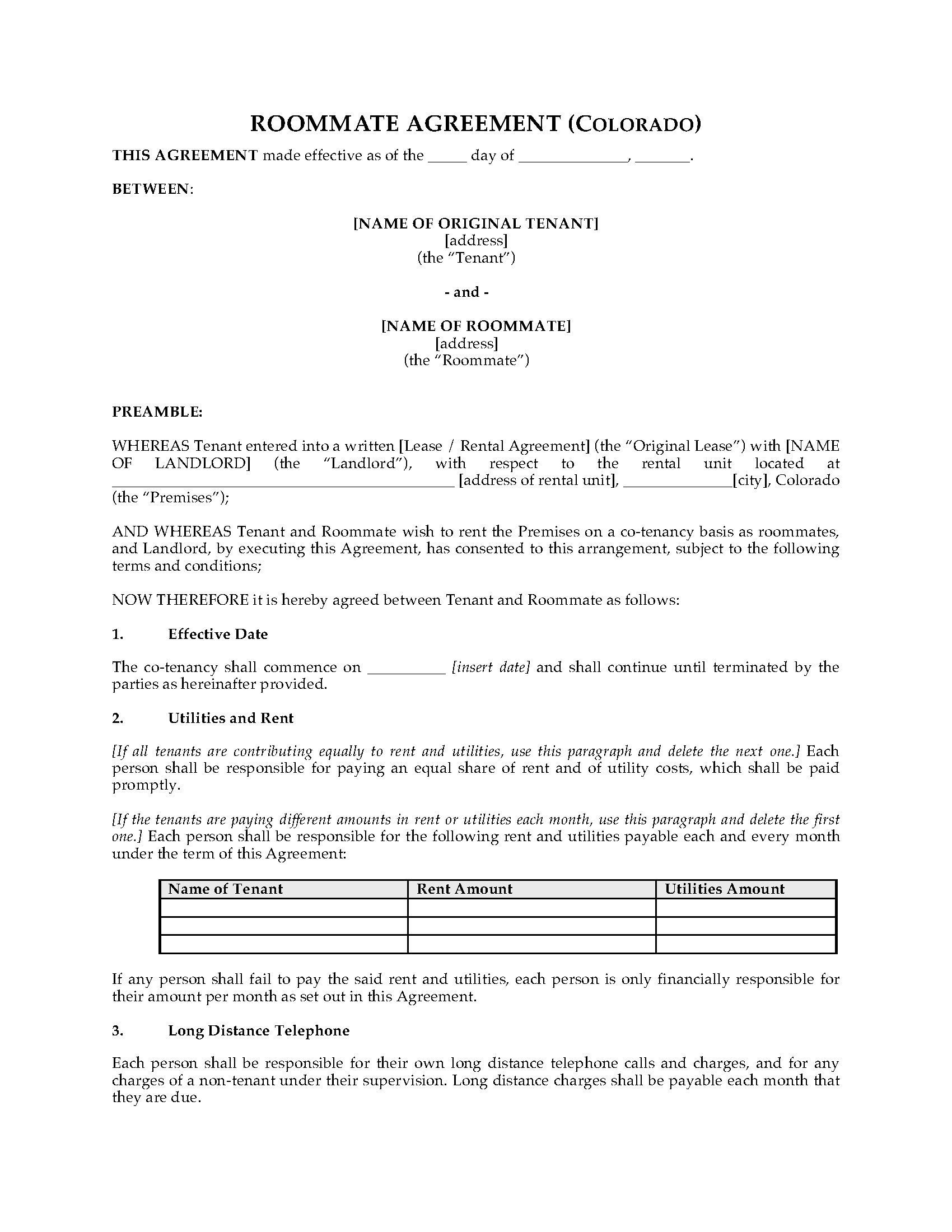 Colorado Roommate Agreement Legal Forms And Business Templates
