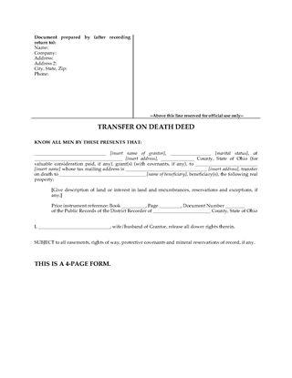 Picture of Ohio Transfer on Death Designation Affidavit