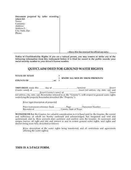 Picture of Texas Quitclaim Deed for Ground Water Rights