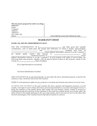 Picture of Indiana Warranty Deed for Joint Ownership