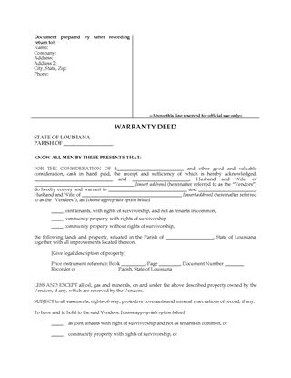 Picture of Louisiana Warranty Deed for Joint Ownership