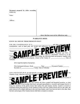 Picture of Nebraska Warranty Deed for Joint Ownership