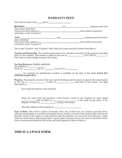 Picture of New Jersey Warranty Deed for Joint Ownership