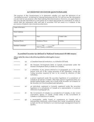 Picture of Accredited Investors Checklist and Representation Letter | Canada