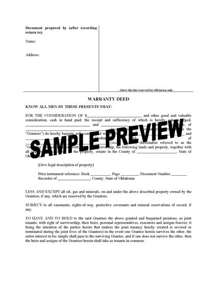 Picture of Oklahoma Warranty Deed for Joint Ownership
