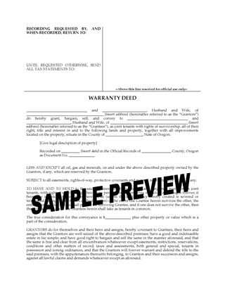 Picture of Oregon Warranty Deed for Joint Ownership