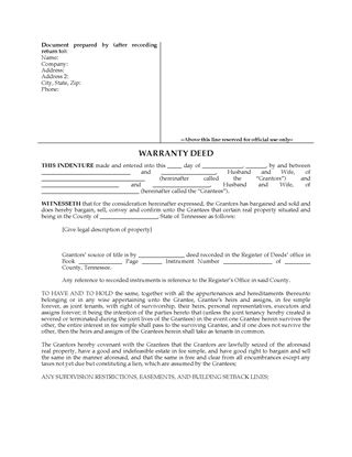 Picture of Tennessee Warranty Deed for Joint Ownership