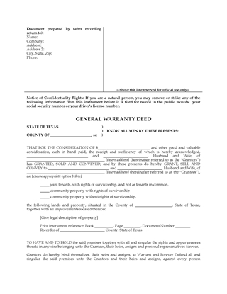 Picture of Texas General Warranty Deed for Joint Ownership