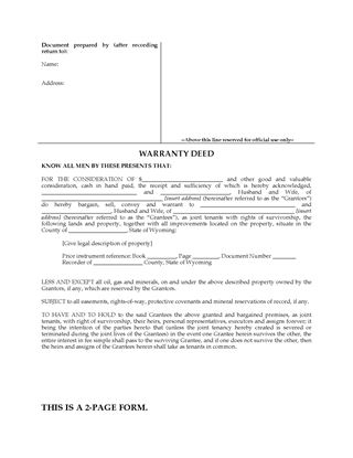 Picture of Wyoming Warranty Deed for Joint Ownership