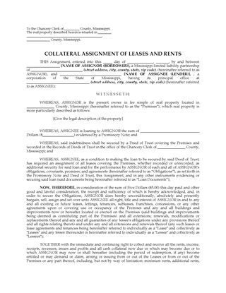 Picture of Mississippi Assignment of Leases and Rents