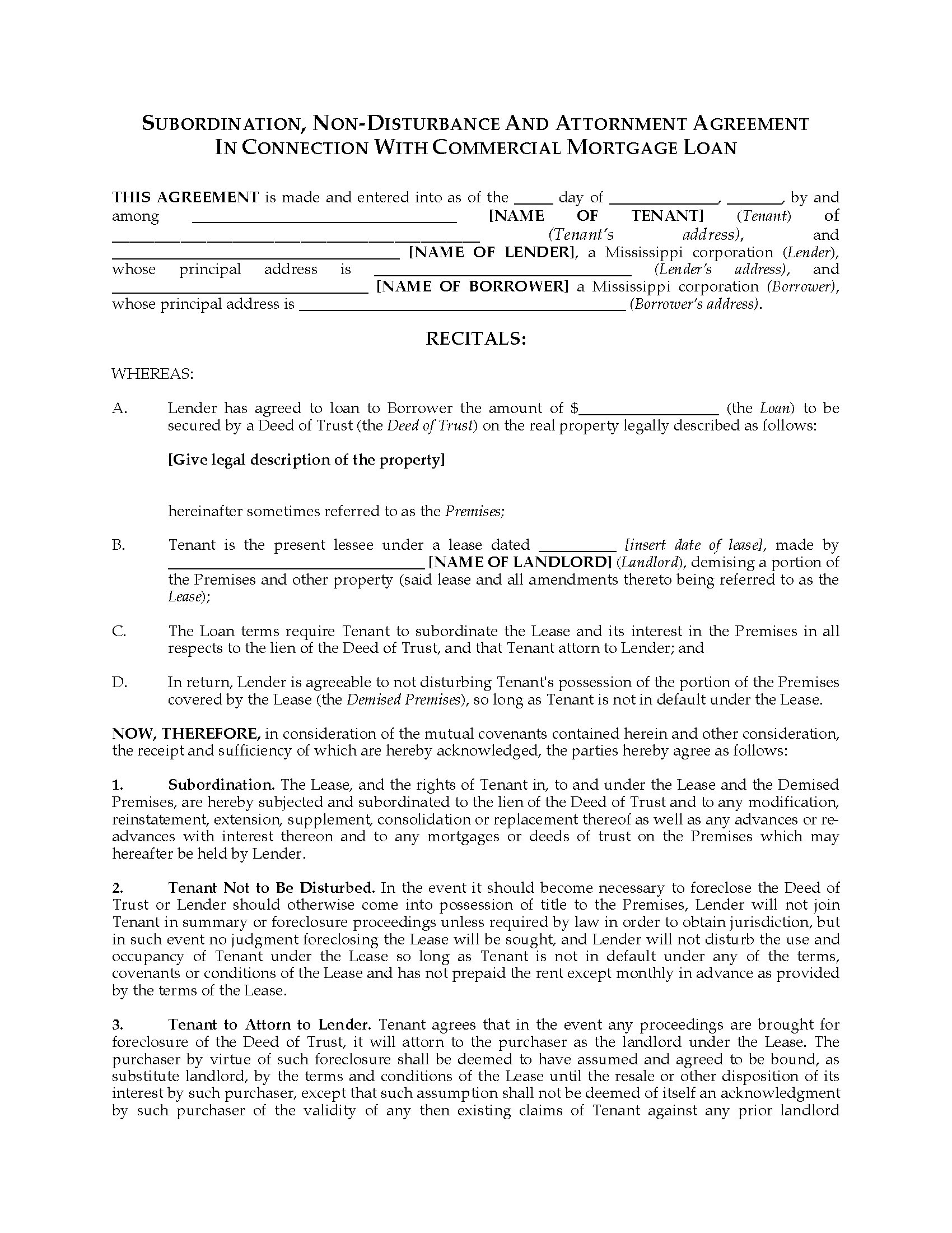 Picture Of Mississippi Subordination, Non Disturbance And Attornment  Agreement