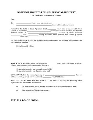 Picture of California Reclamation of Tenant Property Forms Package