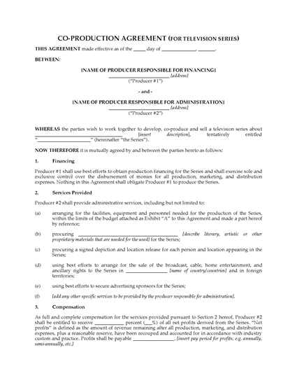 Picture of Co-Production Agreement for TV Series
