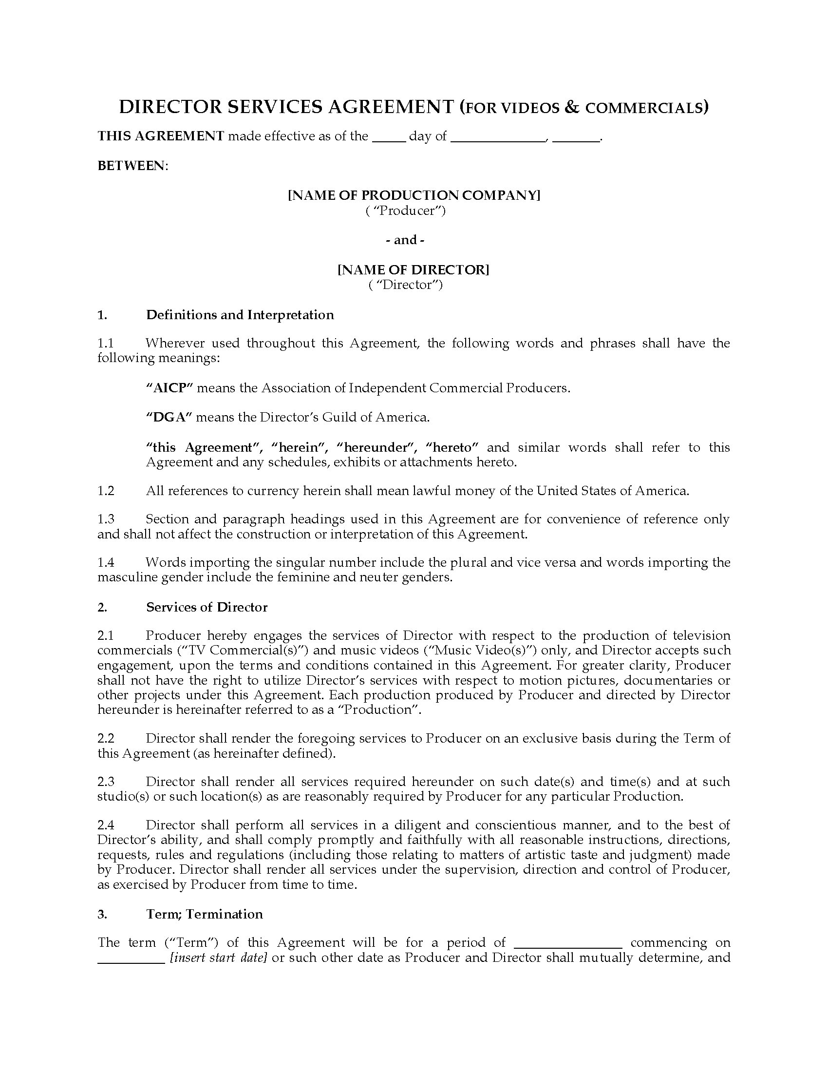 USA Director Agreement For Video Or Mercial