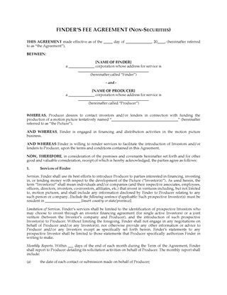 Picture of Finder's Fee Agreement to Obtain Film Financing