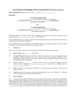 Picture of International Television Distribution Agreement
