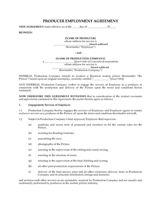Picture of Film Producer Employment Contract