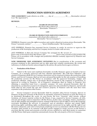 Picture of Production Services Agreement for Motion Picture