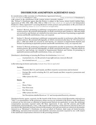 Picture of Distributor Assumption Agreement for Residuals