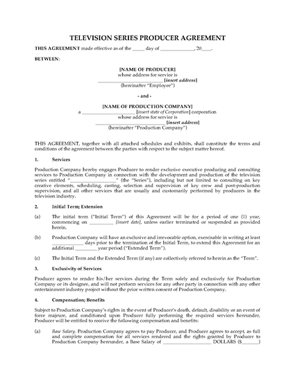 Picture of Producer Agreement for TV Series