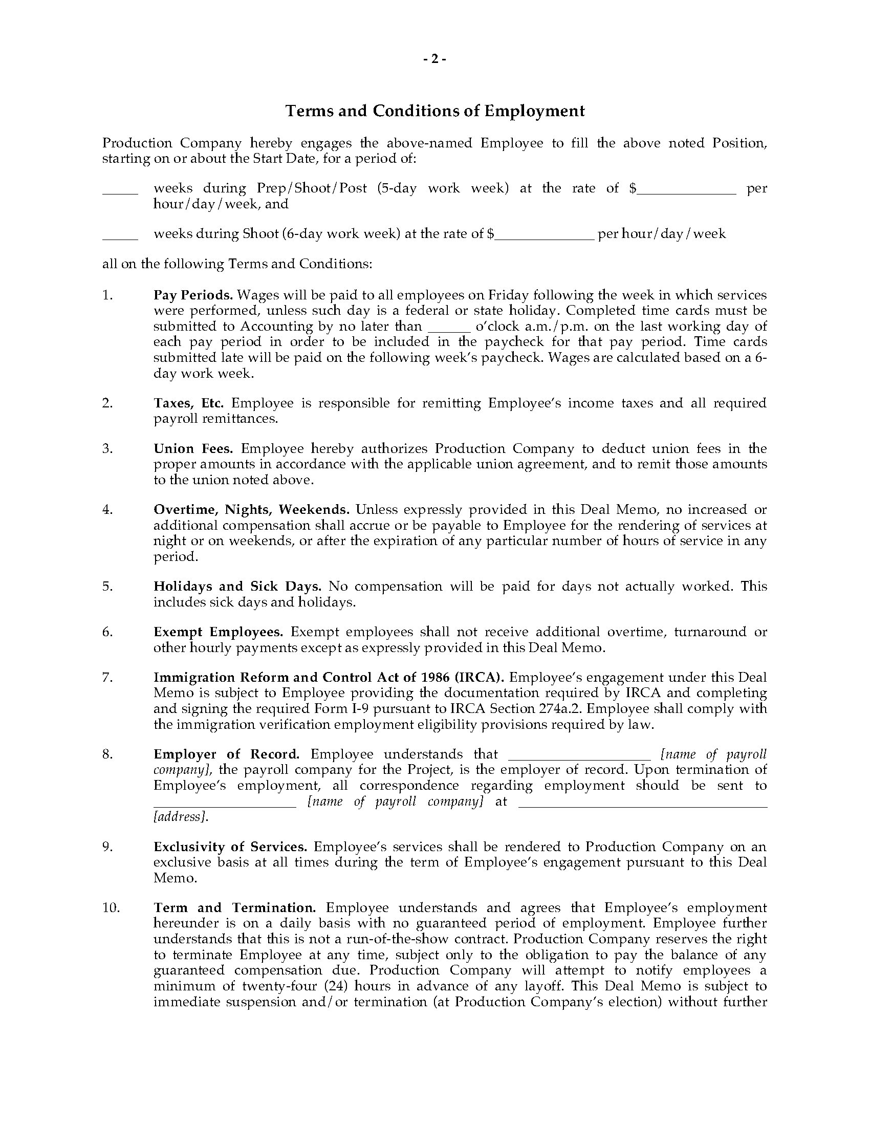 USA Crew Deal Memo for Movie or TV Production | Legal Forms and ...