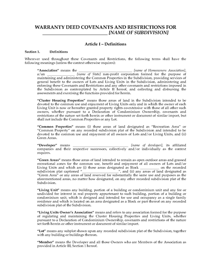 Picture of Warranty Deed Covenants and Restrictions for Subdivision Lots   USA