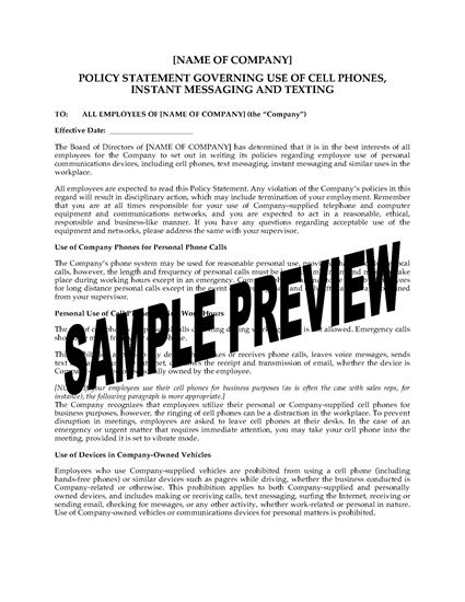 mobile phone policy template - cell phone use messaging and texting policy statement