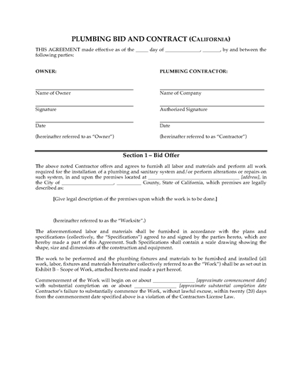 Picture of California Plumbing Bid and Contract