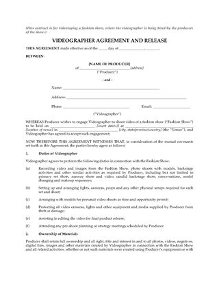 Picture of Videography Agreement for Fashion Show