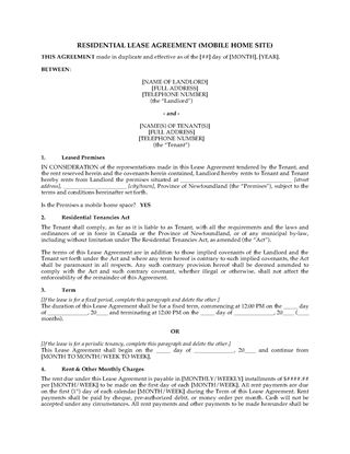 Picture of Newfoundland Lease Agreement for Mobile Home Site