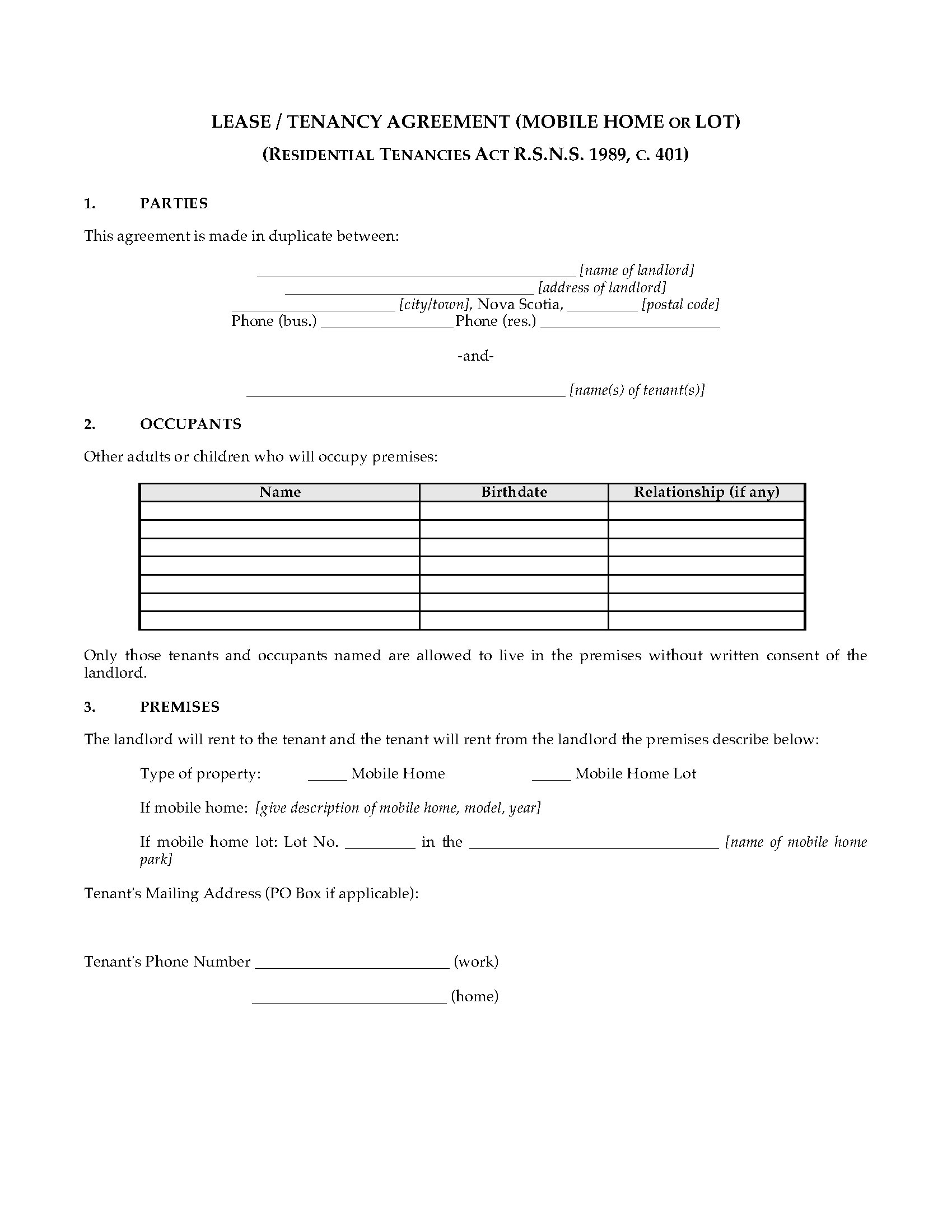 Nova scotia lease agreement for mobile home or lot legal forms and picture of nova scotia lease agreement for mobile home or lot platinumwayz