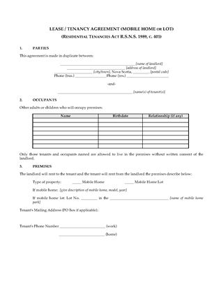 Picture of Nova Scotia Lease Agreement for Mobile Home or Lot