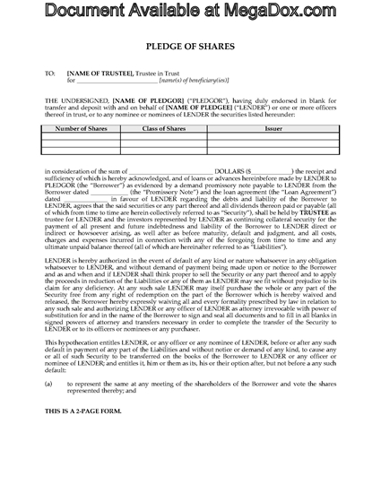 Picture of Share Pledge Agreement (Loan Security) | Canada