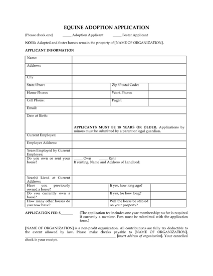 Picture of Equine Adoption Application Form