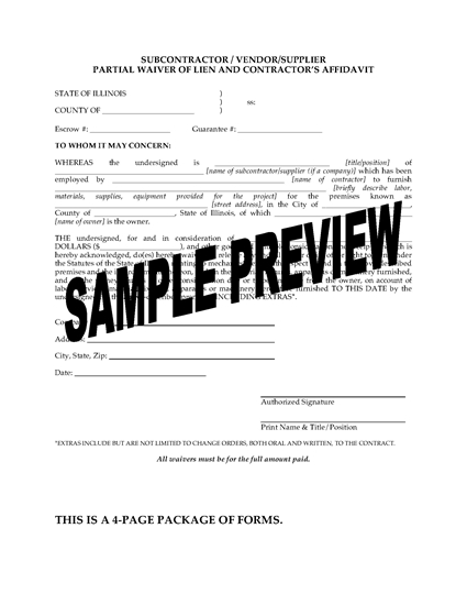 Picture of Illinois Subcontractor / Vendor / Supplier Lien Waiver and Release Forms