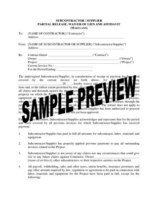 Picture of Maryland Subcontractor / Supplier Lien Waiver and Release Forms