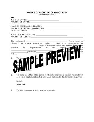 Picture of New Mexico Notice of Right to Claim Lien