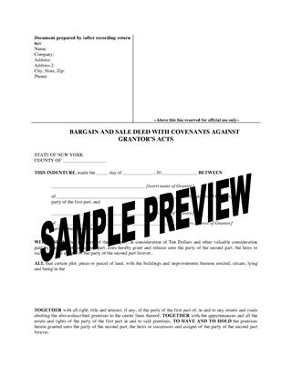 Picture of New York Bargain and Sale Deed With Covenants