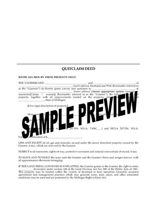 Picture of Michigan Quitclaim Deed from Husband and Wife to Individual