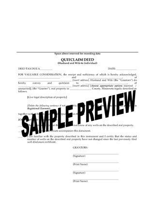 Picture of Minnesota Quitclaim Deed from Husband and Wife to Individual