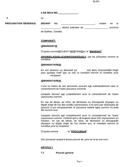 Picture of Quebec Mandat de protection (version française)