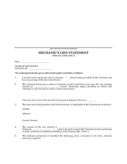Picture of Minnesota Mechanics Lien Statement and Affidavit of Service