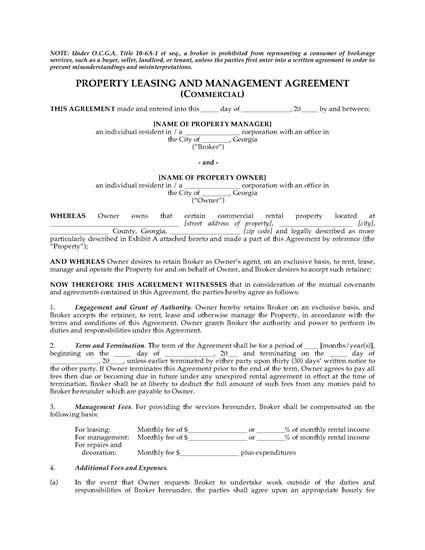 Picture of Georgia Commercial Property Leasing and Management Agreement