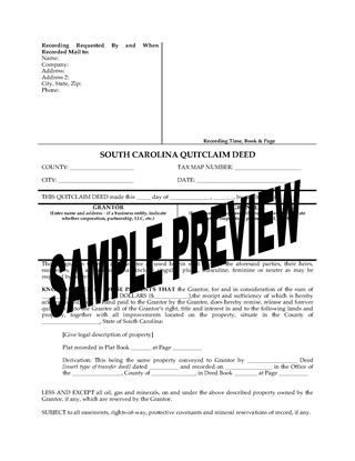 Picture of South Carolina Quitclaim Deed from Husband and Wife to Individual