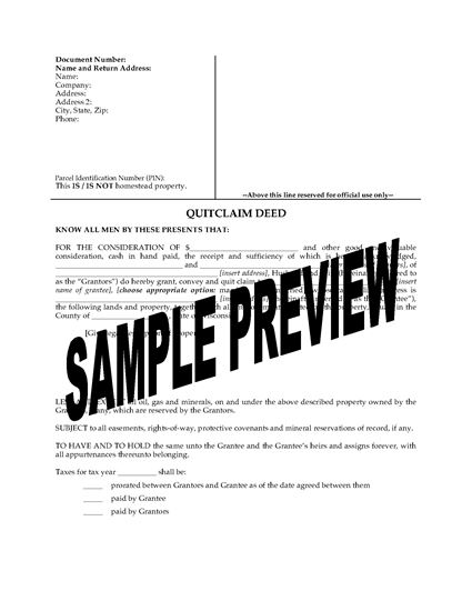 Picture of Wisconsin Quitclaim Deed from Husband and Wife to Individual