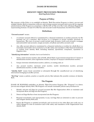 Picture of Red Flags Rule Policy for Financial Institutions | USA
